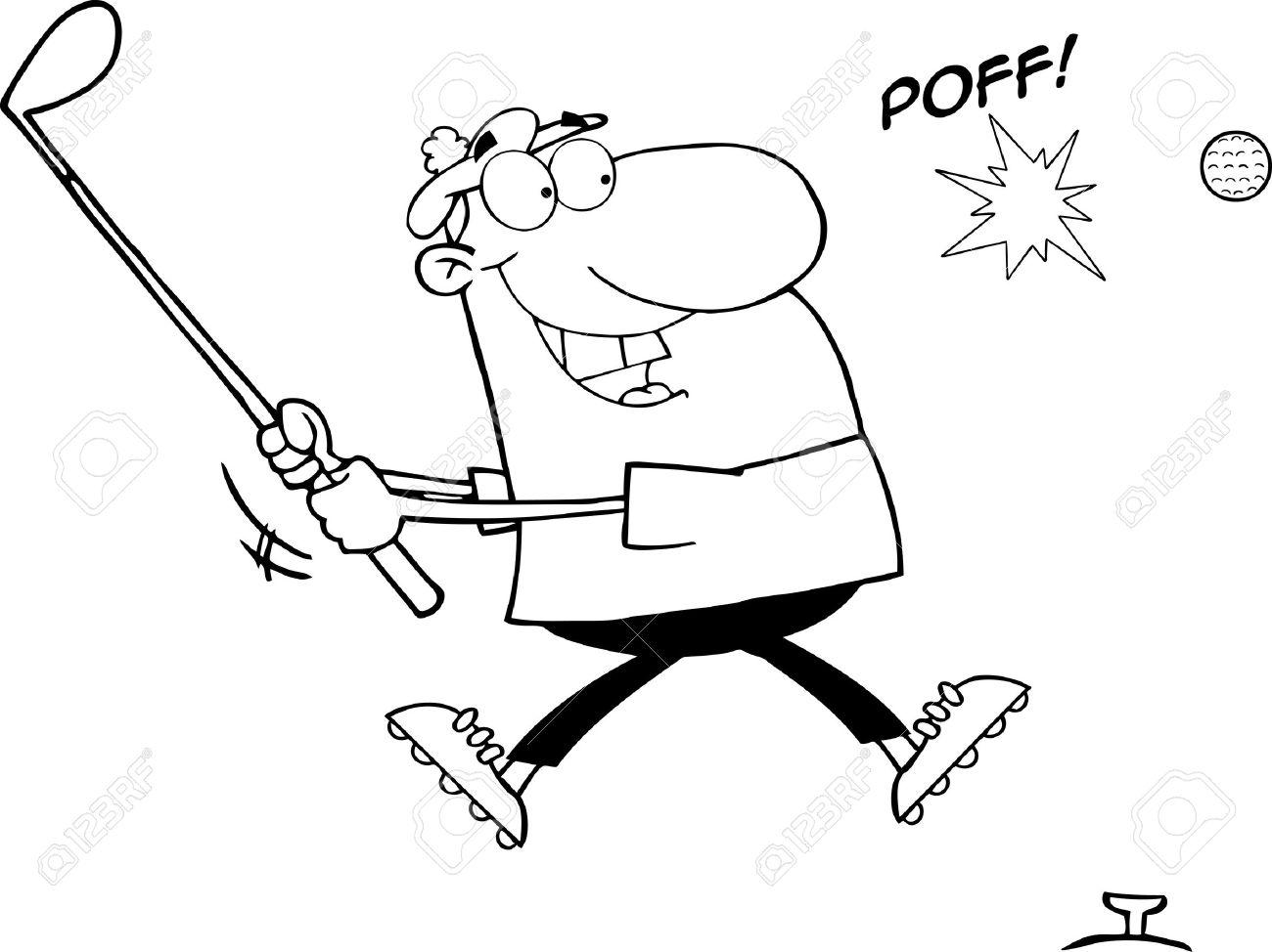Outlined Male Golfer Hitting Golf Ball Stock Vector - 12775339