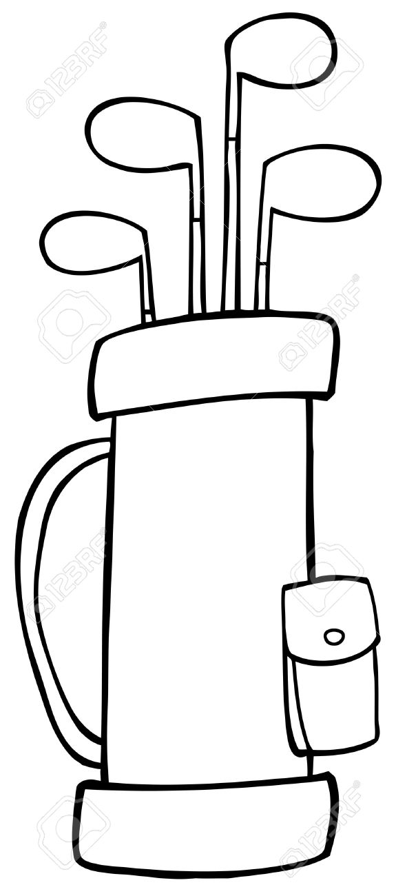 outlined golf bag royalty free cliparts vectors and stock rh 123rf com Cartoon Golf Club Golf Course