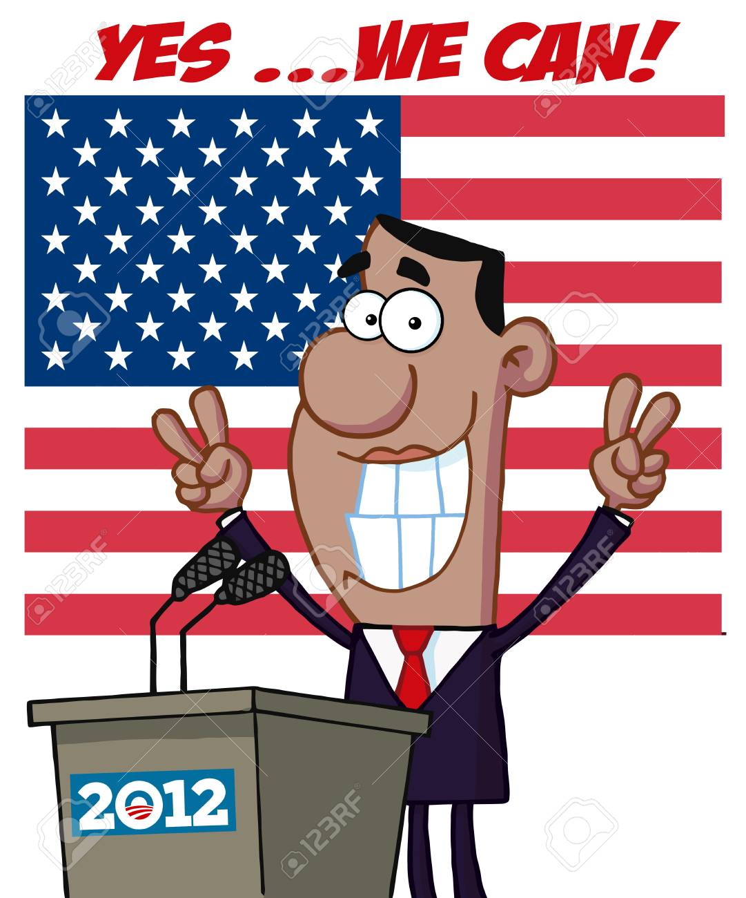 Barack Obama Flashes Victory Signs From Podium 2012 And Text Stock Vector - 12775342