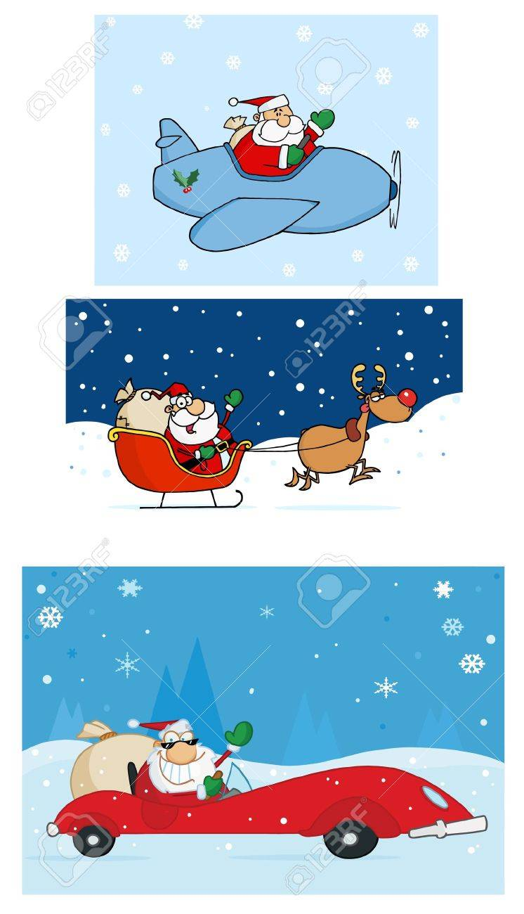 Santa Claus Is Coming To Town  Vector Collection Stock Vector - 12776389