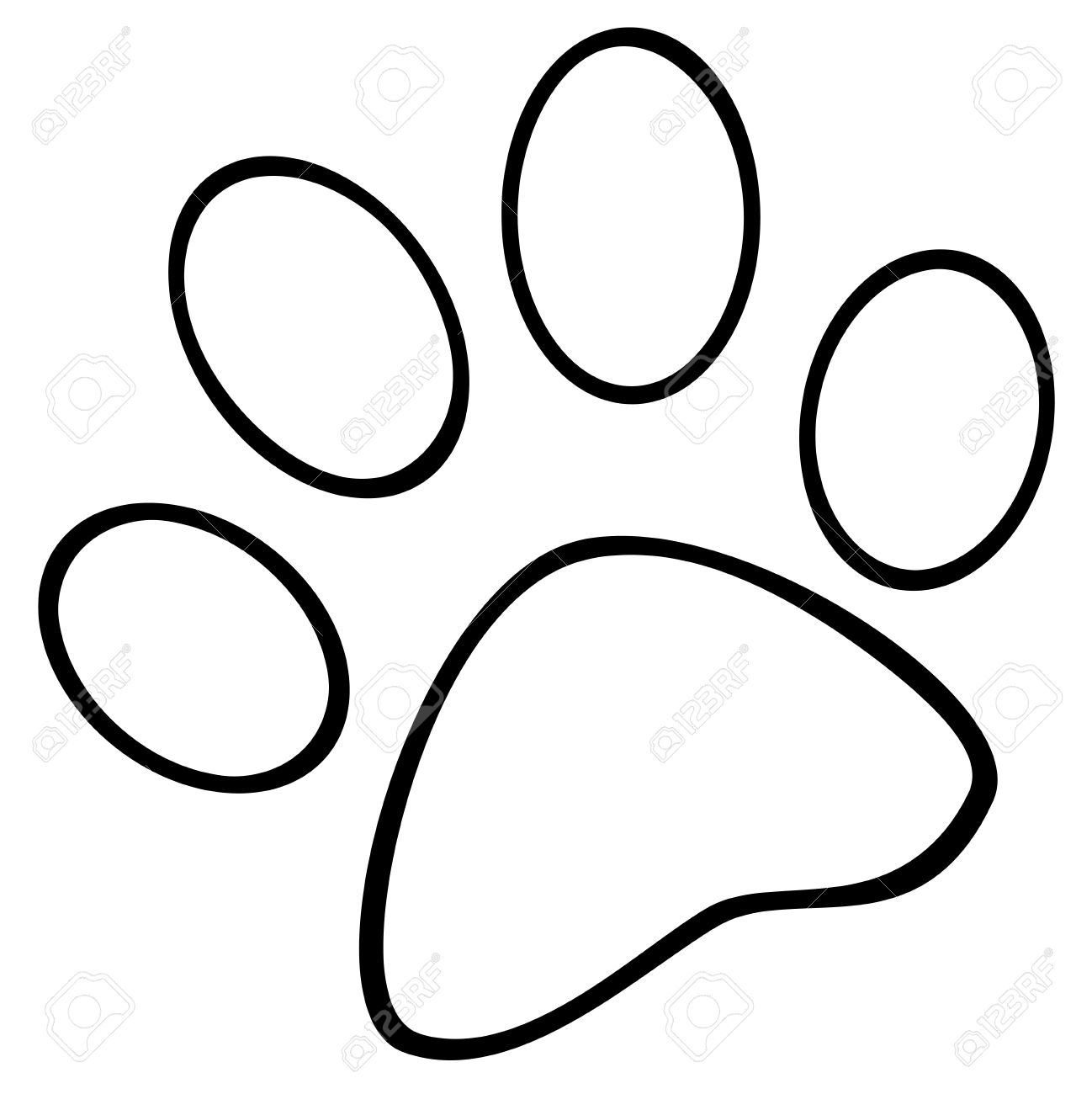 Learn How To Draw A Simple Dog: Easy Stepbystep Drawing Tutorial Dog Paw:  Outlined