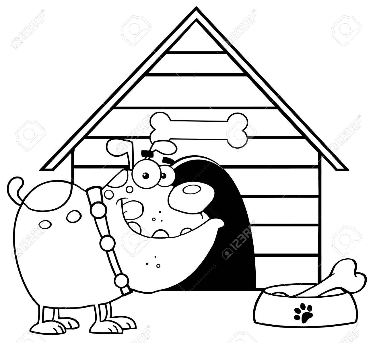 Outlined Bulldog With Bowl And Bone In Front Of His Dog House Stock Vector - 12991459