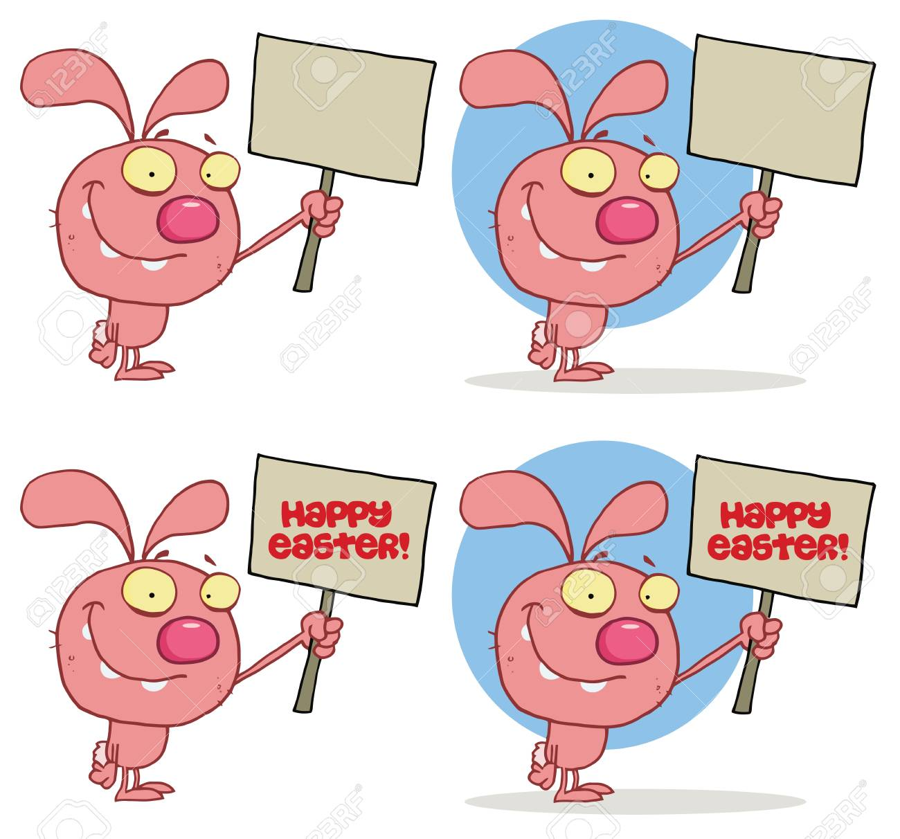 Cute Rabbit Holding Up A Blank Sign  Collection Stock Vector - 13068165