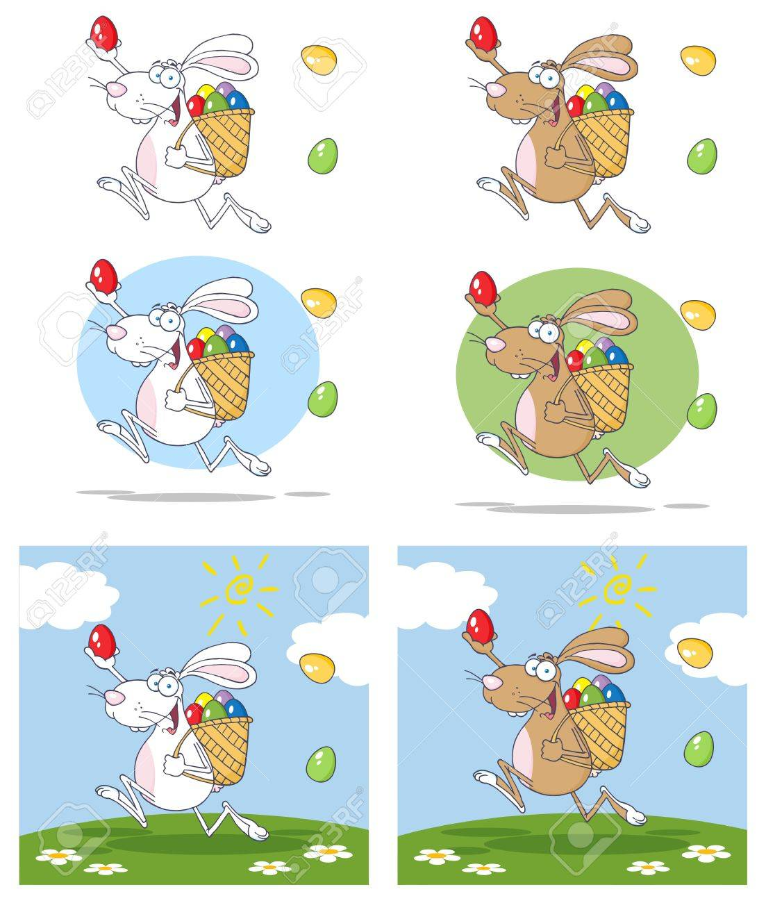 Easter Rabbit Running With A Basket And Egg Collection Stock Vector - 13068307
