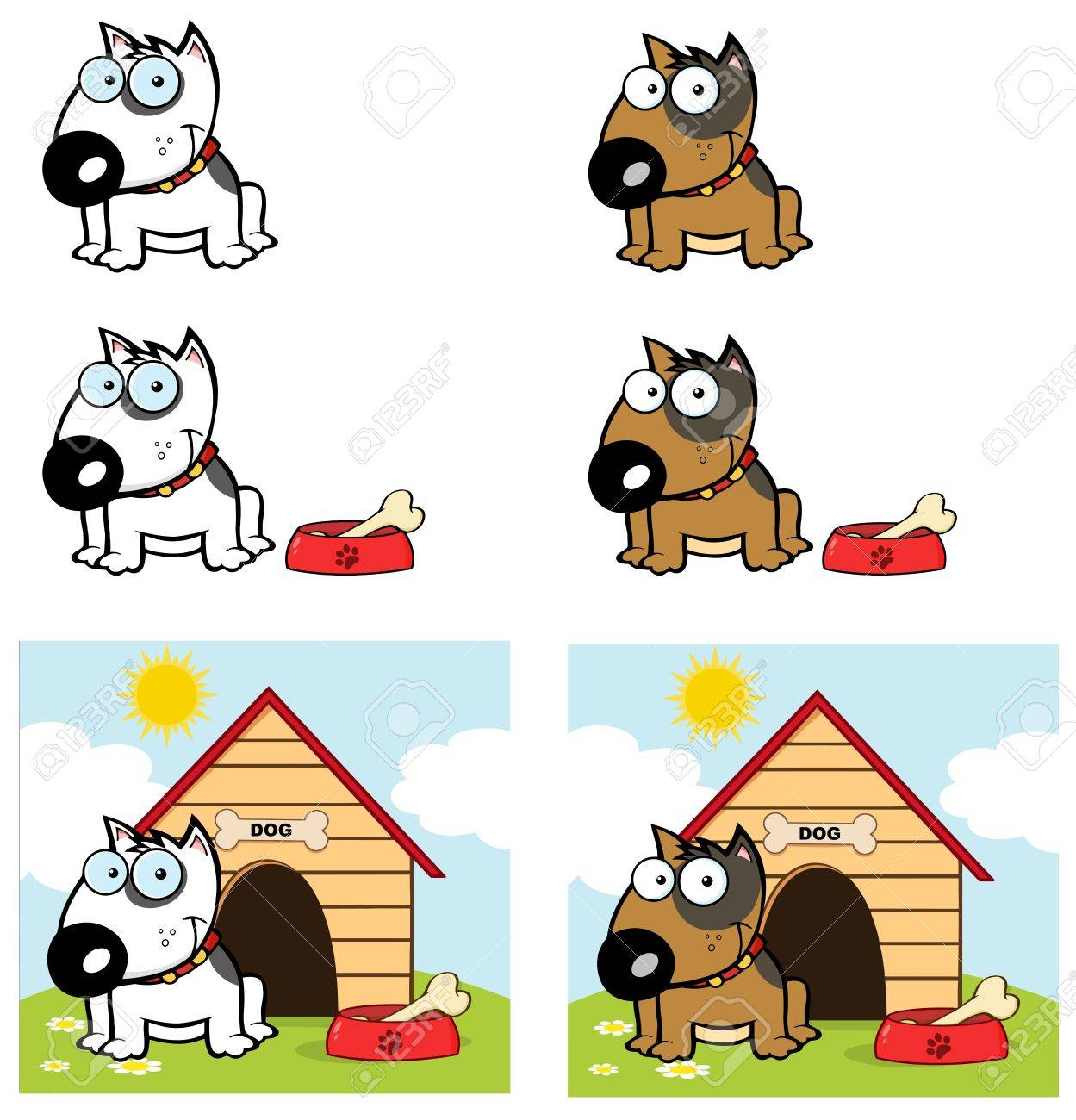 Bull Terrier Dog Different Color Collection Stock Vector - 13068285
