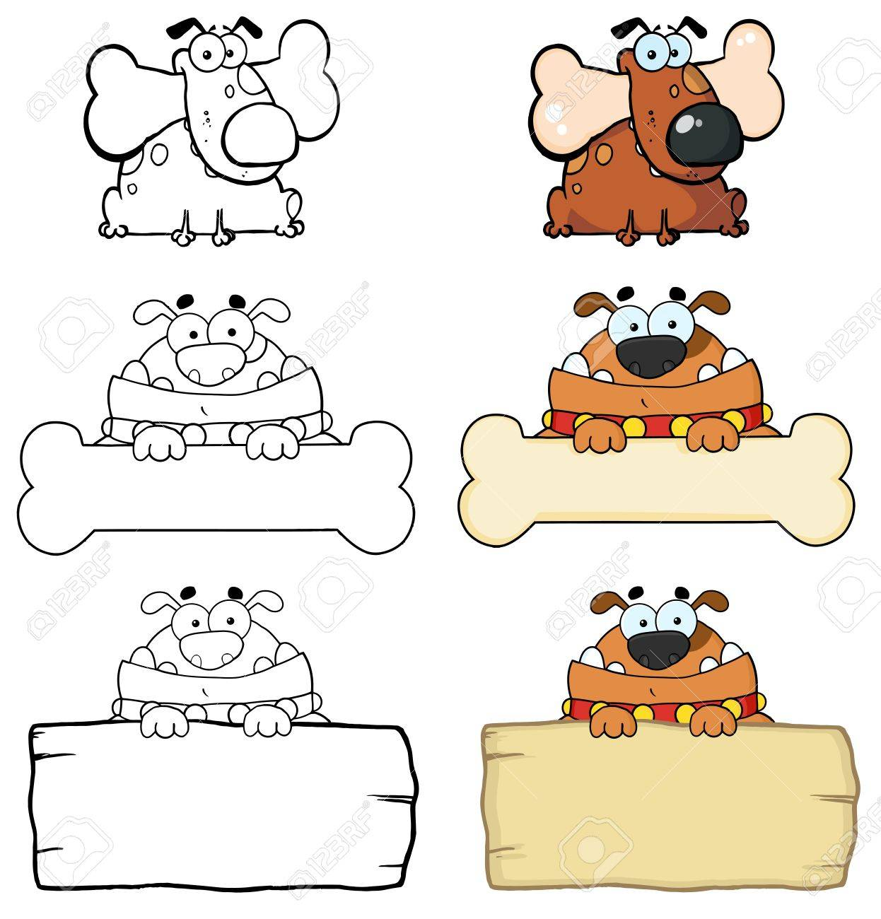 Different Breed Of Dogs And Blank Sign  Collection Stock Vector - 13068283