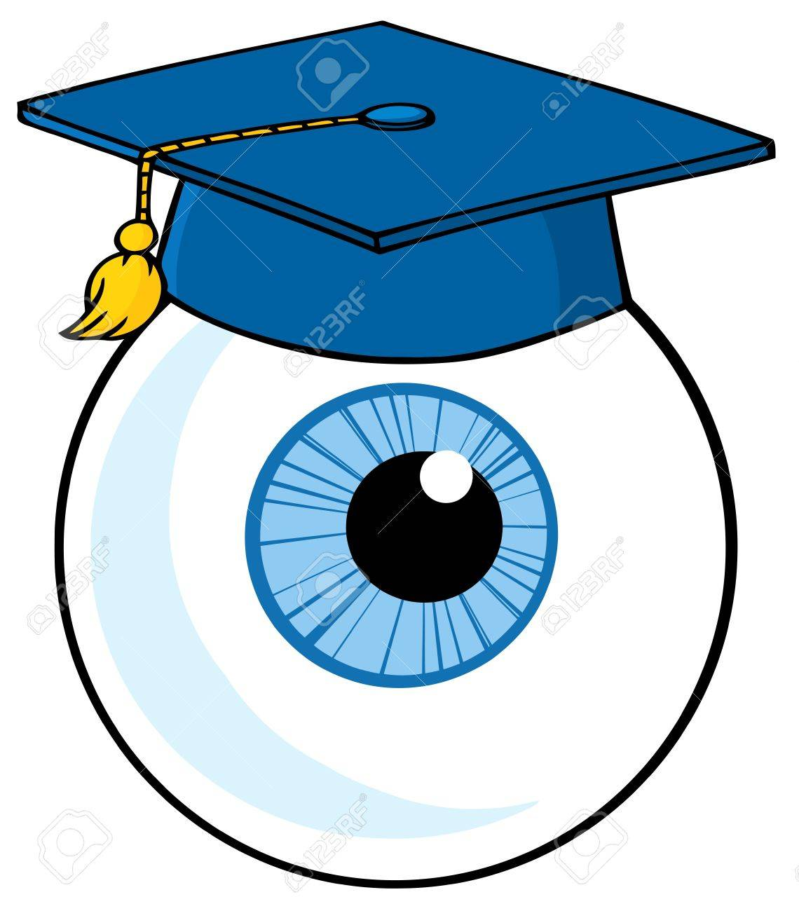Eye Ball Cartoon Character With Graduate Cap Stock Vector - 13299029