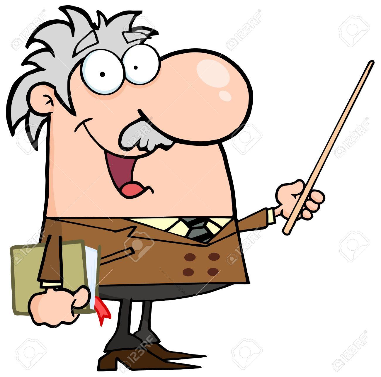 Happy Caucasian Professor Using A Pointer Stick Stock Vector - 13299044