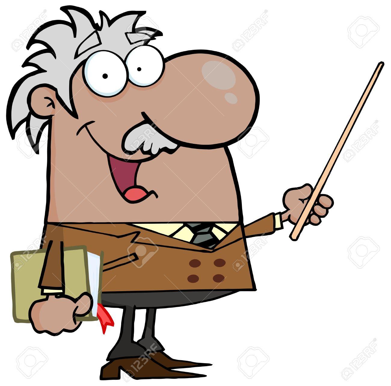 Happy Black Or Hispanic Professor Using A Pointer Stick Stock Vector - 13299042