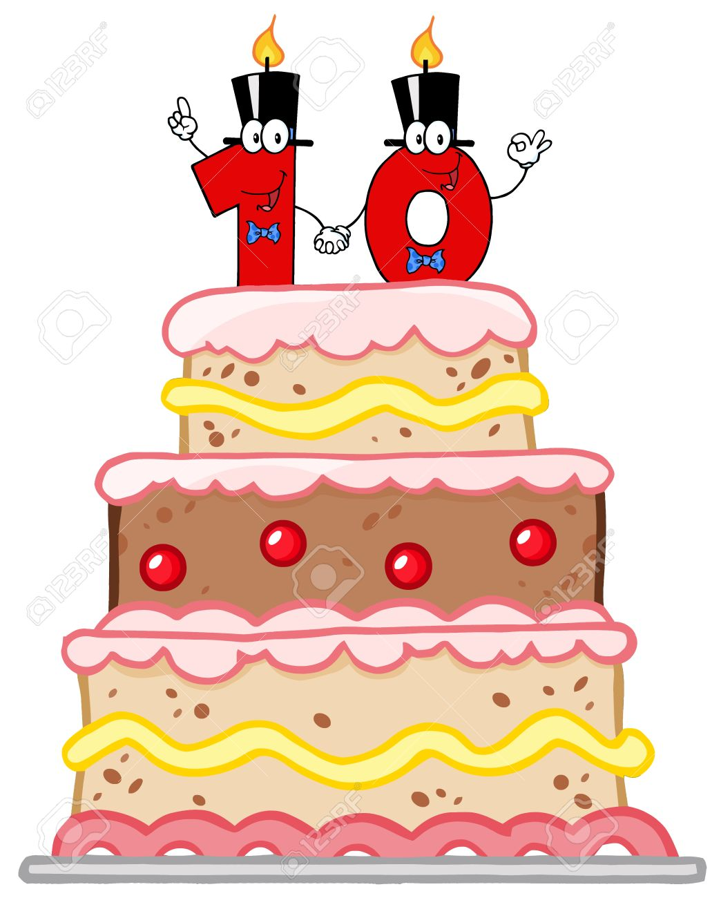 Birthday Cake Or Wedding With Number Ten Candles Stock Vector
