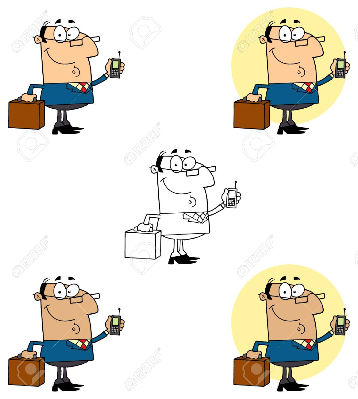 Businessman Holding A Briefcase And Cell Phone Collection Stock Vector - 13344337