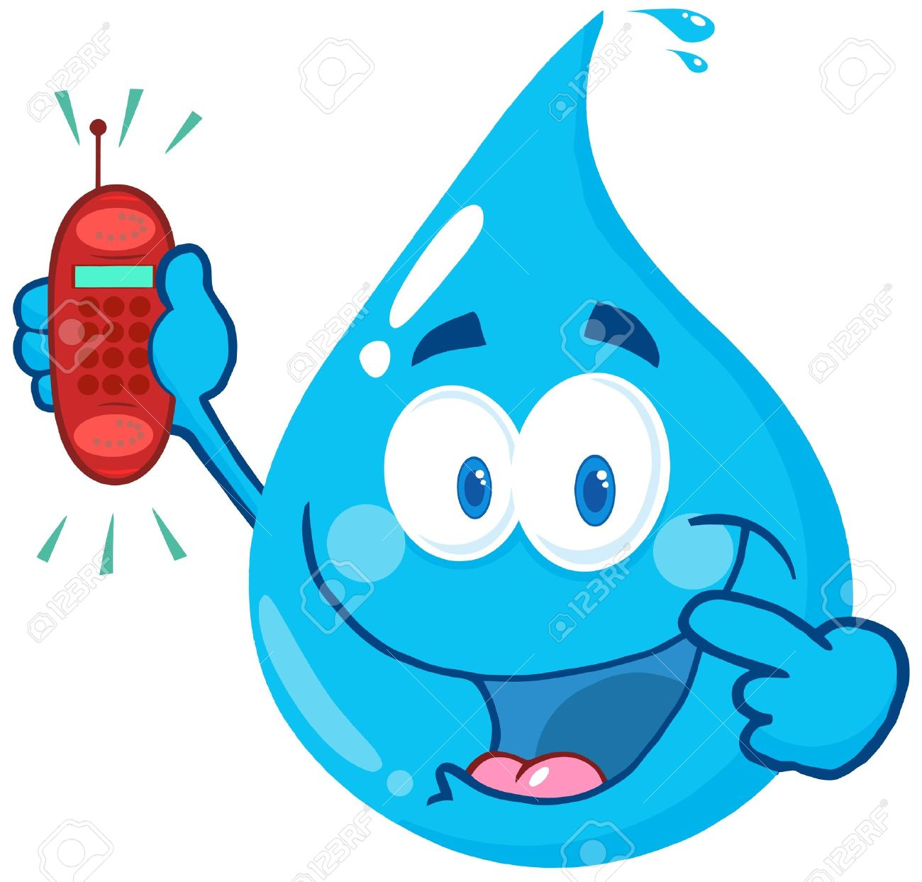 Gota De Agua Feliz De Dibujos Animados La Celebración De Un Teléfono