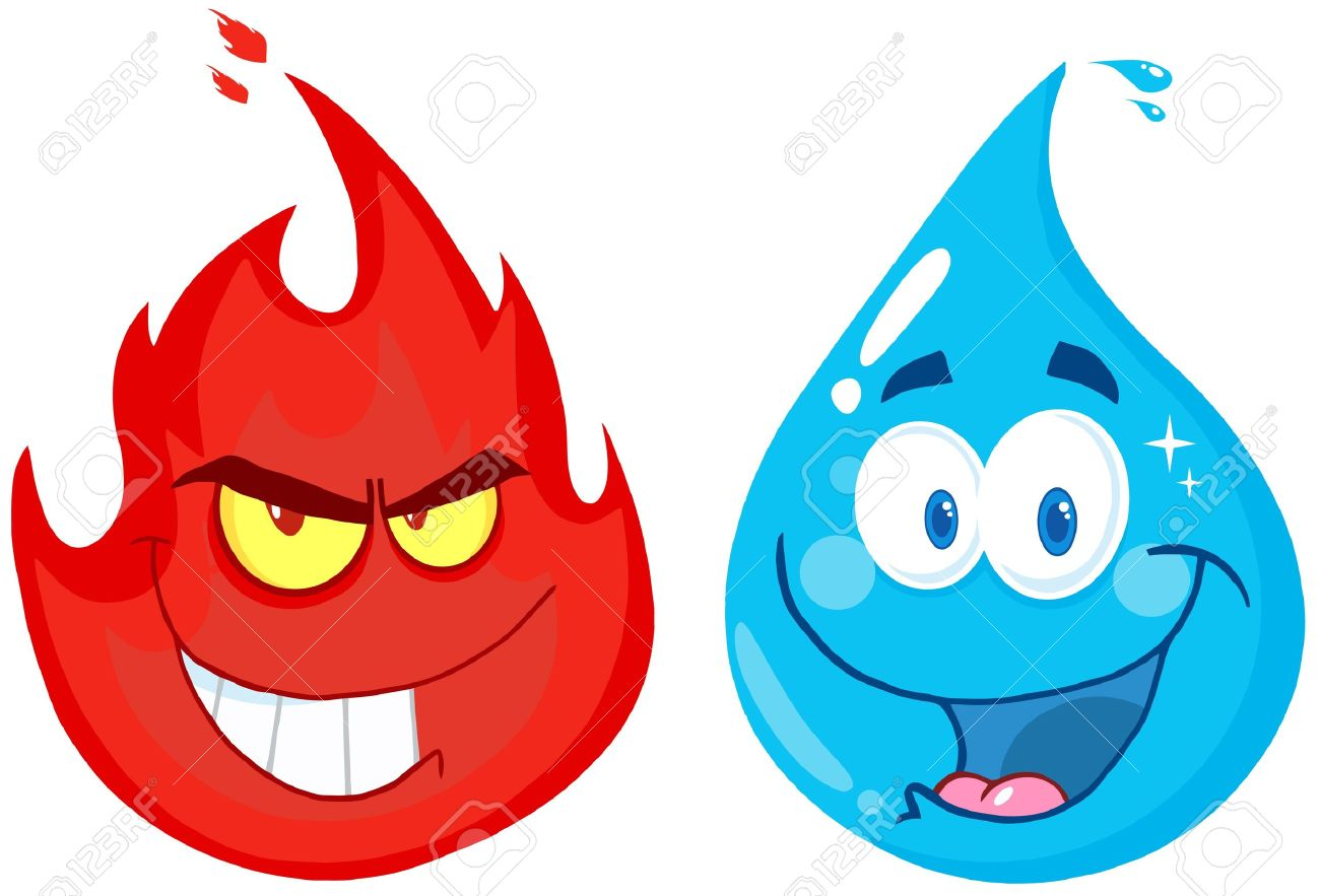 flame and water cartoon characters royalty free cliparts vectors