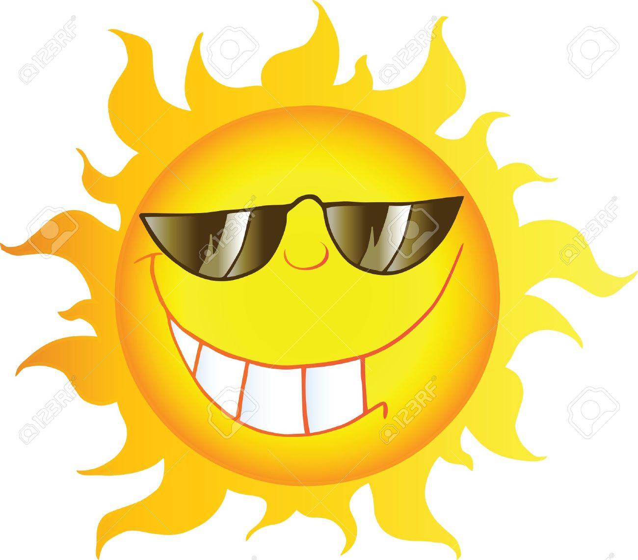45cf0fc3106 Foto de archivo - Sonriendo Carácter Caricatura de un sol con gafas de sol