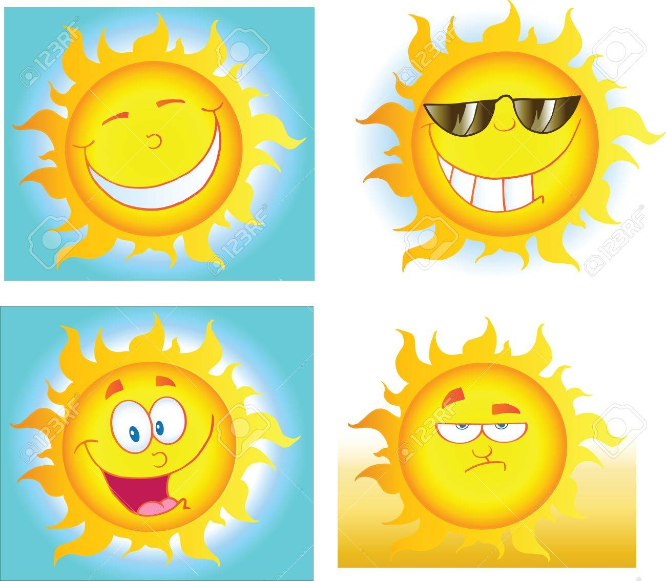 Different Sun Cartoon Characters  Collection Stock Vector - 14622683