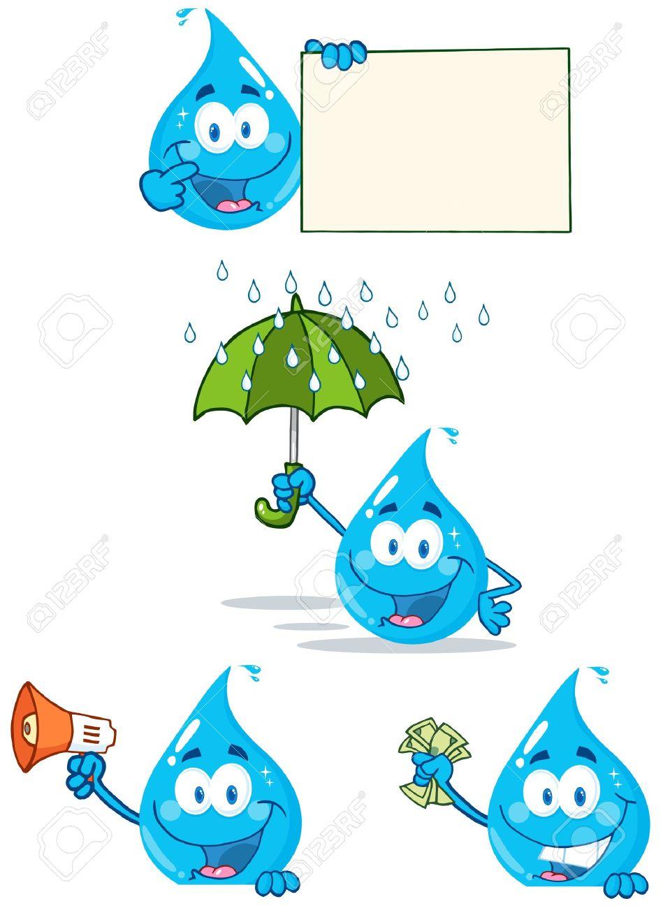 Water Drop Cartoon Mascot Characters 3 Stock Vector - 14622645