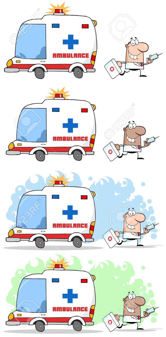 Doctor Running With A Syringe And Bag From Ambulance Stock Vector - 14622680