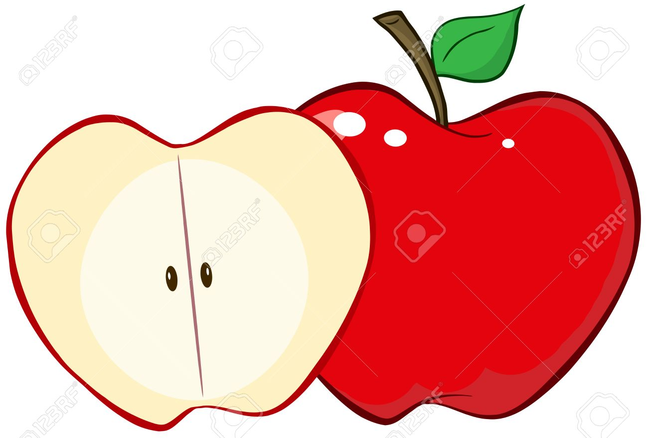 Whole And Cut Red Apple Royalty Free Cliparts, Vectors, And Stock ...