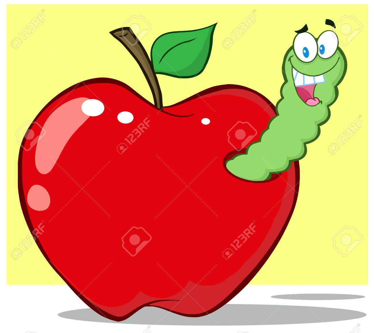 Smiling Worm In Red Apple Stock Vector - 14758372