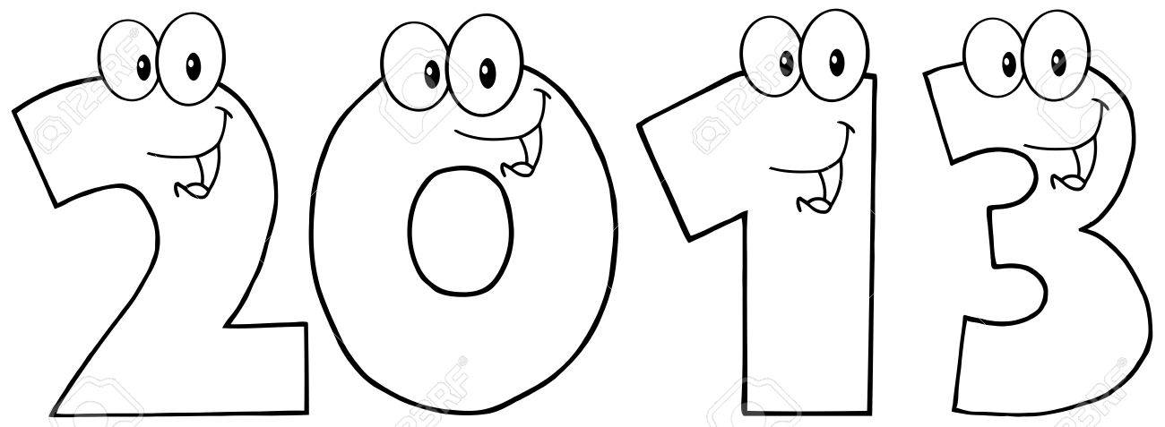 Black And White New Year 2013 Funny Numbers Cartoon Characters Stock Vector - 14758400