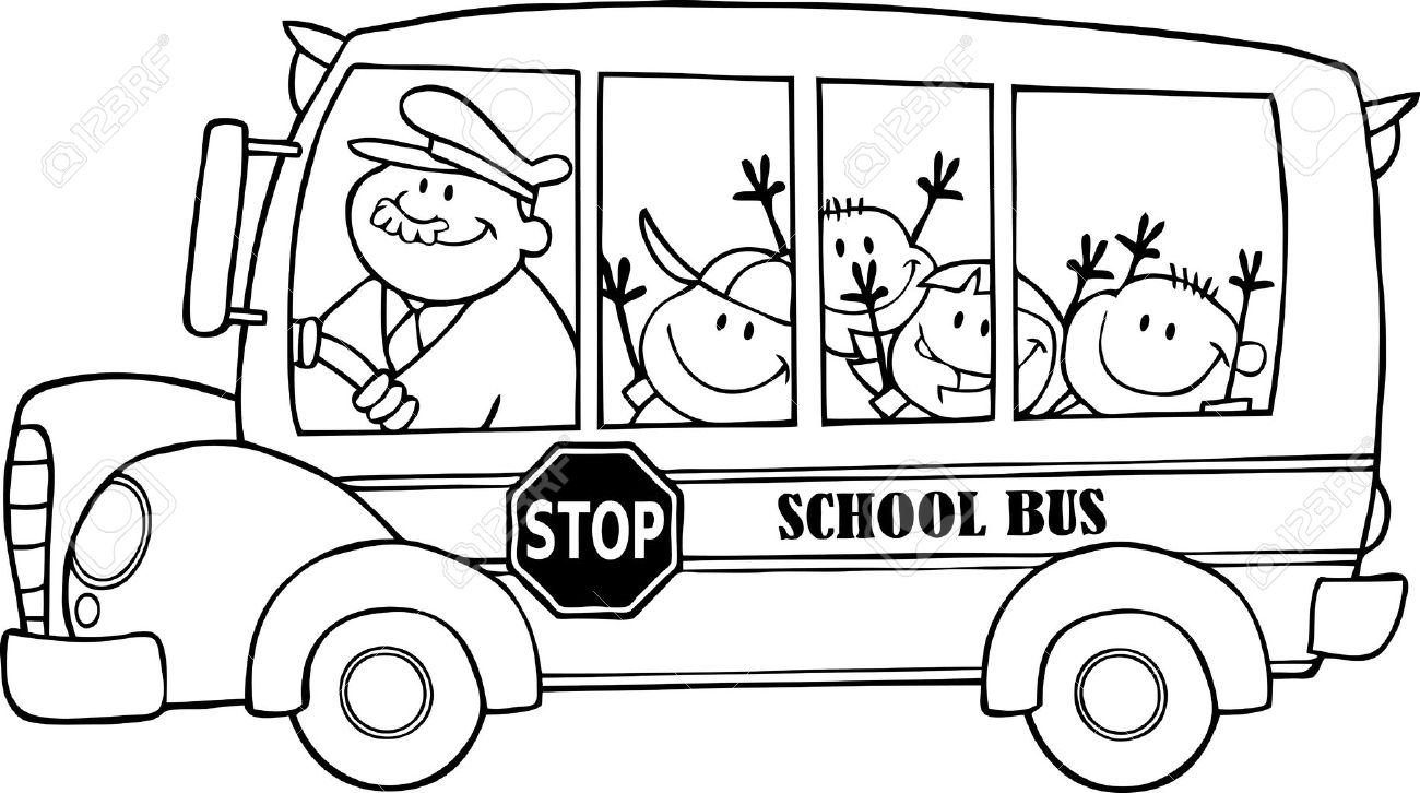 Outlined School Bus With Happy Children - 14947121