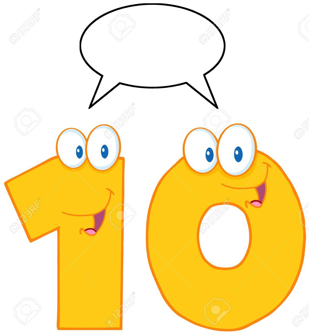 Number Ten Cartoon Mascot Character With Speech Bubble Stock Vector - 15220223