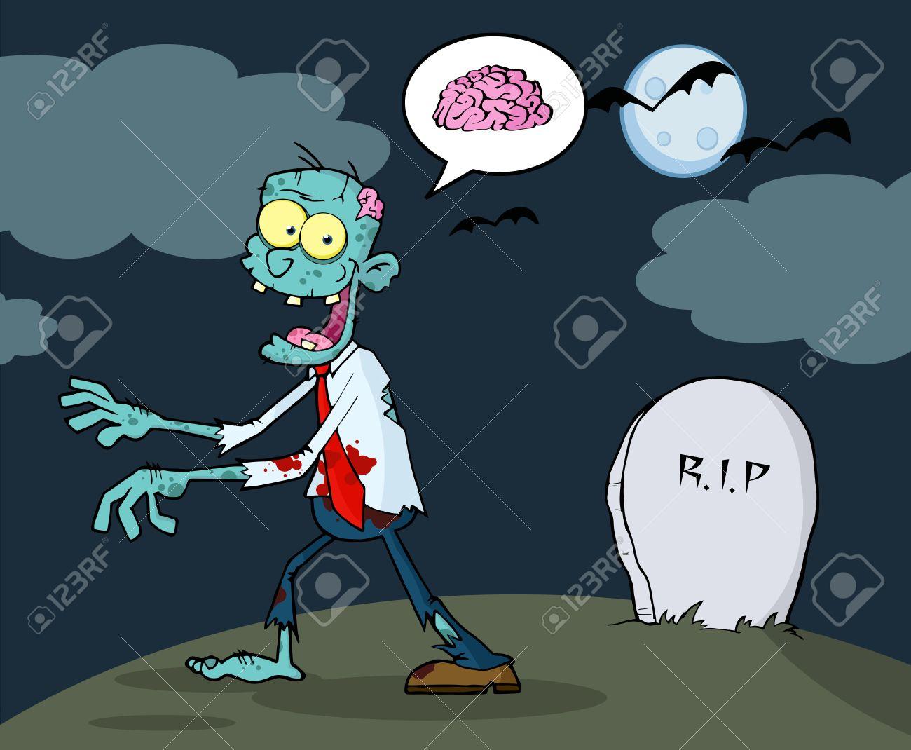 Blue Cartoon Zombie Walking With Hands In Night Stock Vector - 15515027
