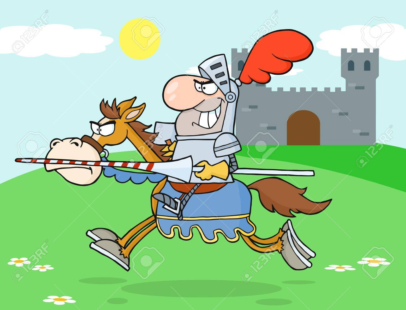 Knight Riding Horse In The background Of Medieval Castle - 15481441
