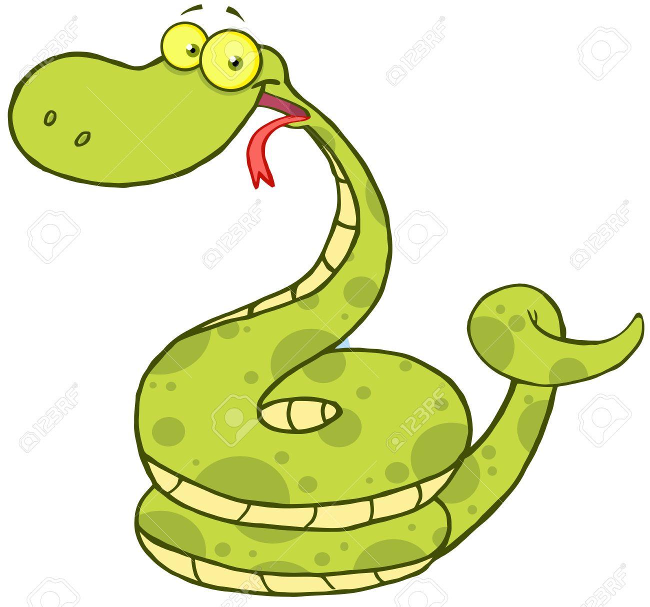 Dessin Animé Serpent caractère heureux de mascotte de dessin animé serpent clip art