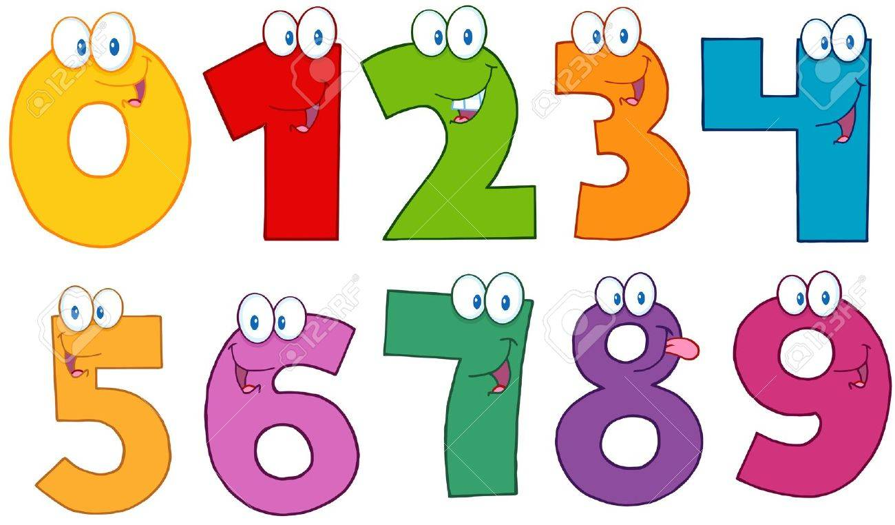 Funny Numbers Cartoon Characters Stock Vector