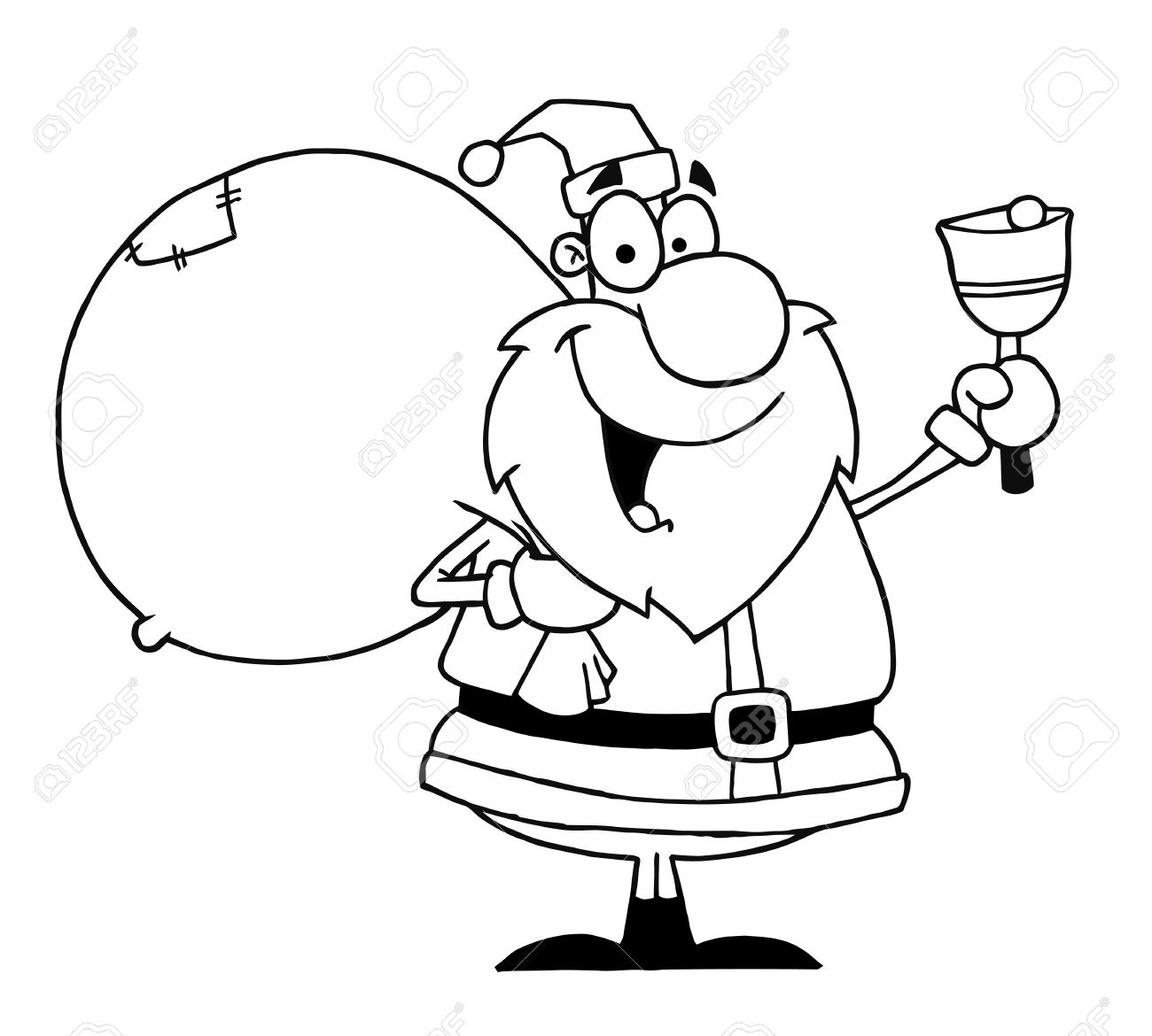 black and white coloring page outline of a santa bell ringer