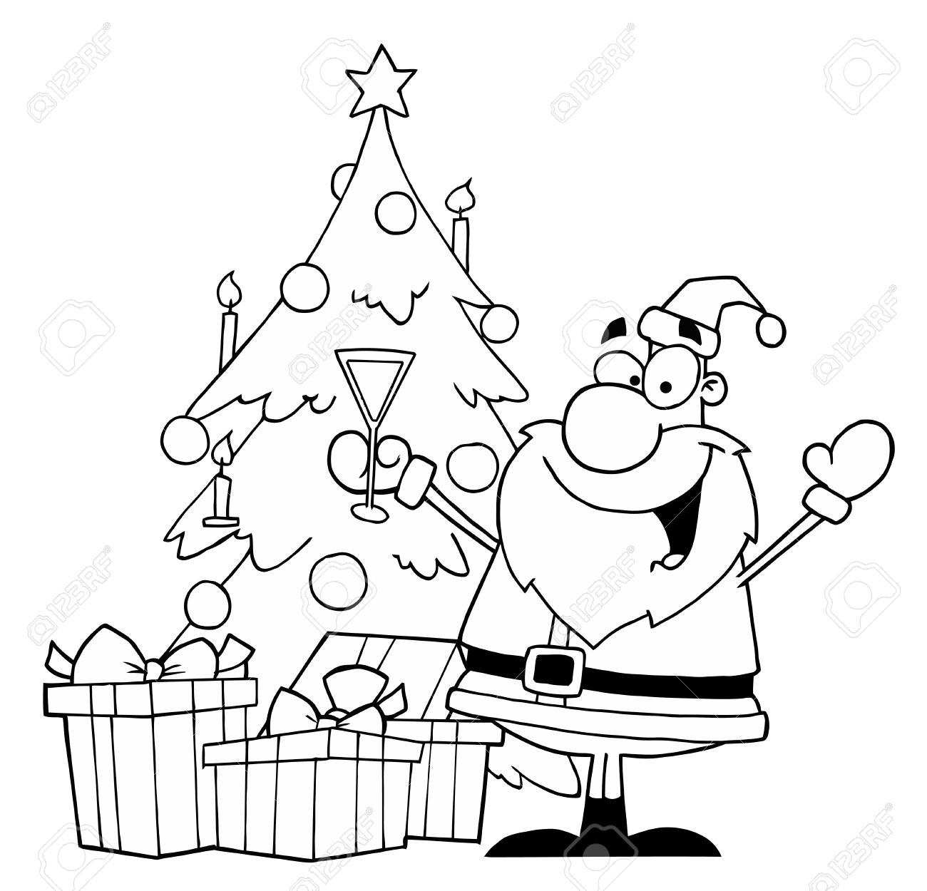 black and white coloring page outline of santa drinking champagne by a christmas tree stock vector