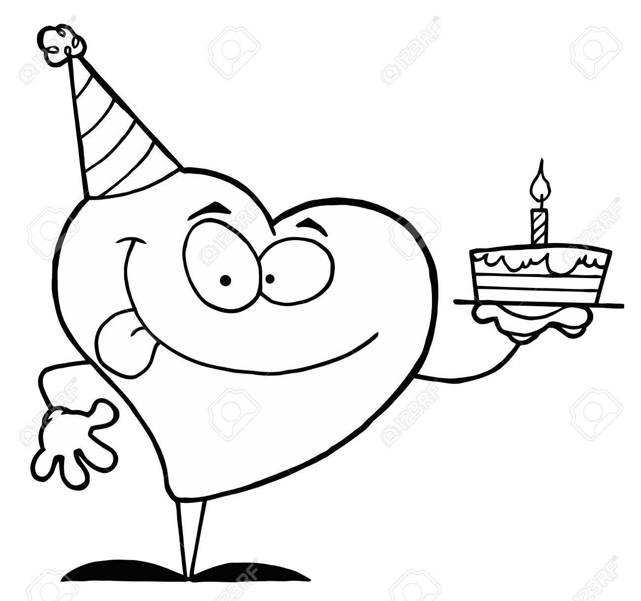 Black And White Coloring Page Outline Of A Heart Holding A Cake Stock Vector - 16386682