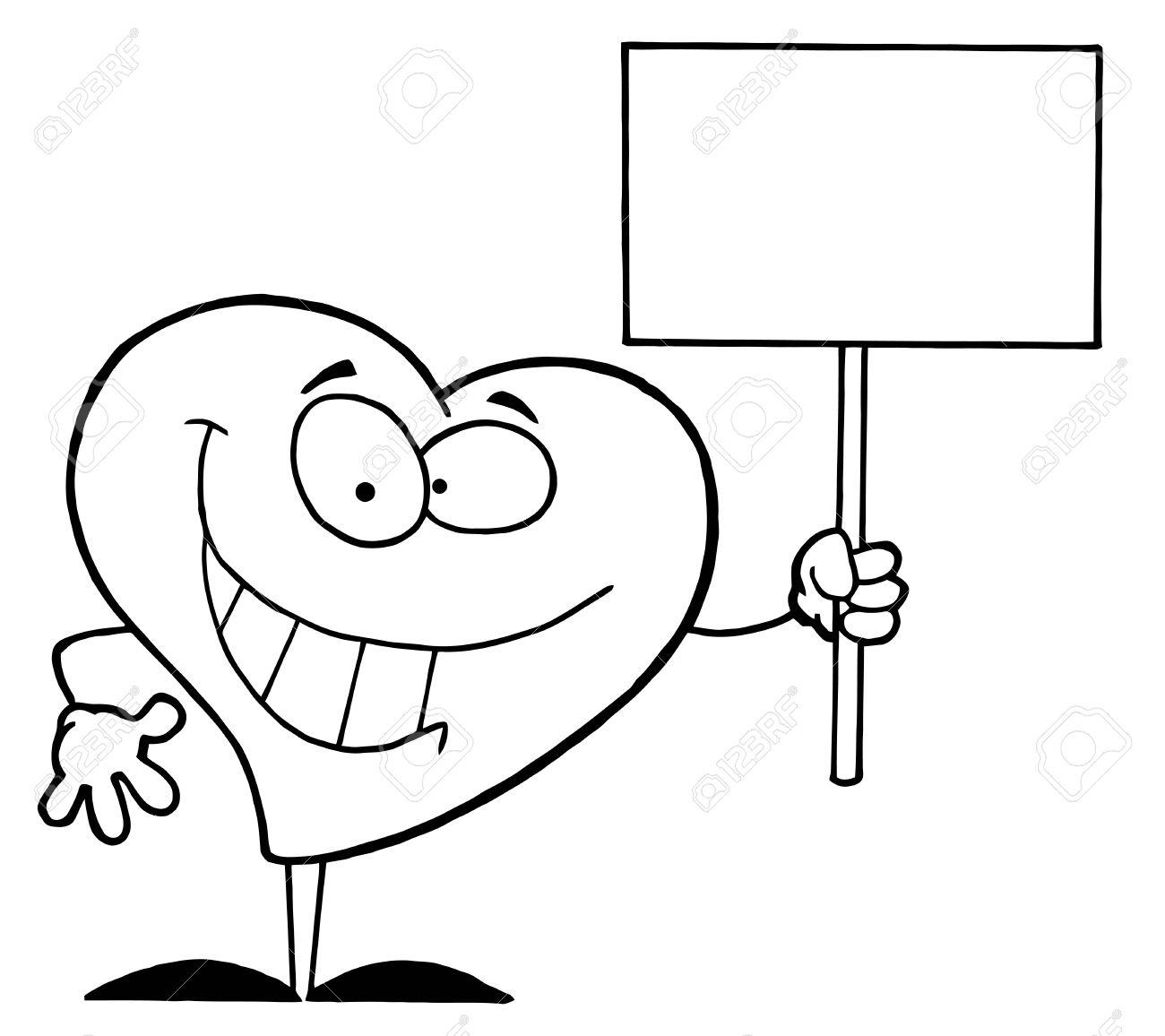 Noir Et Blanc Contour Coloriage D un Coeur avec une pancarte Banque d images