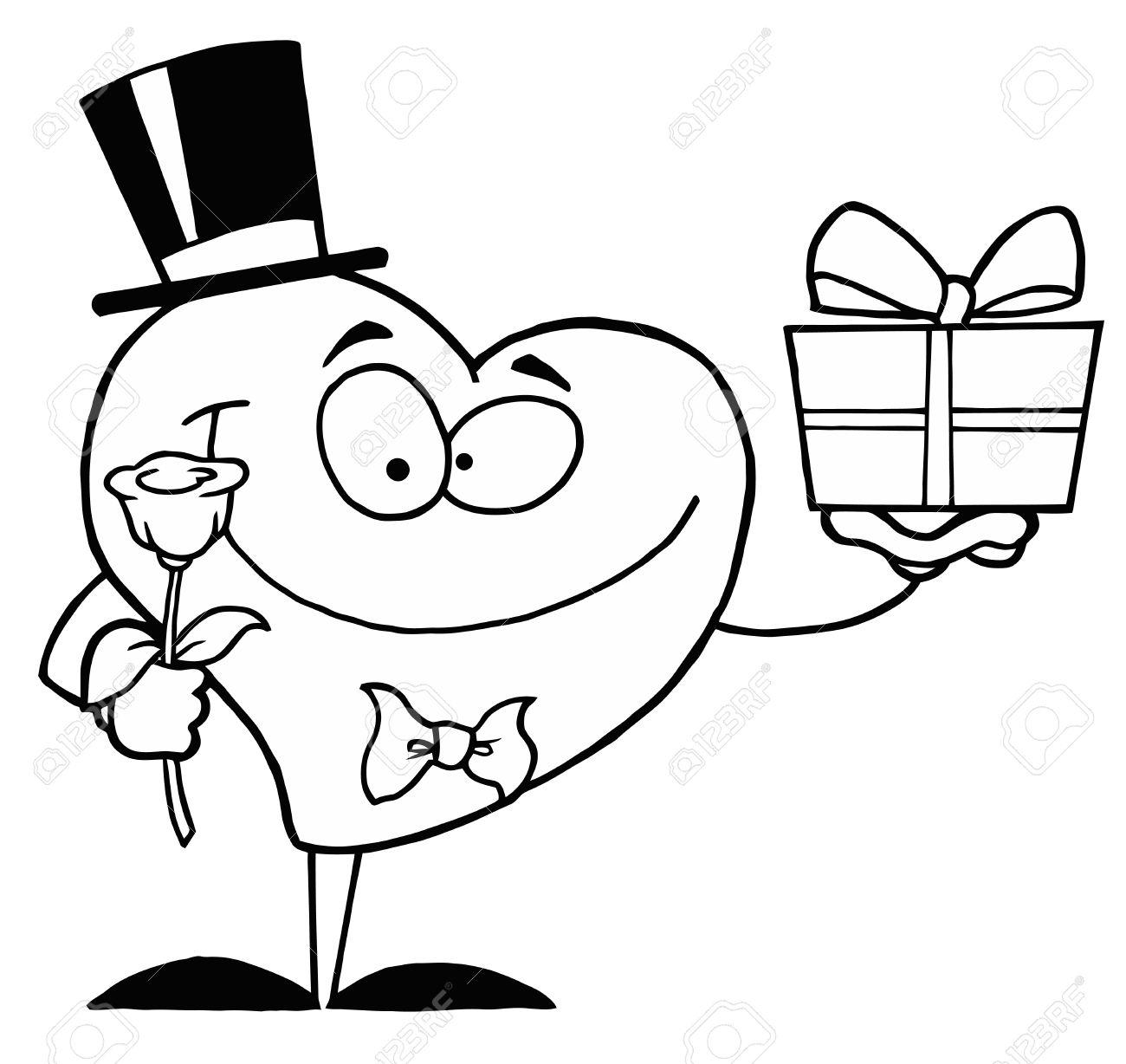 Noir Et Blanc Contour Coloriage D un Coeur Donner un cadeau et fleurs Banque d