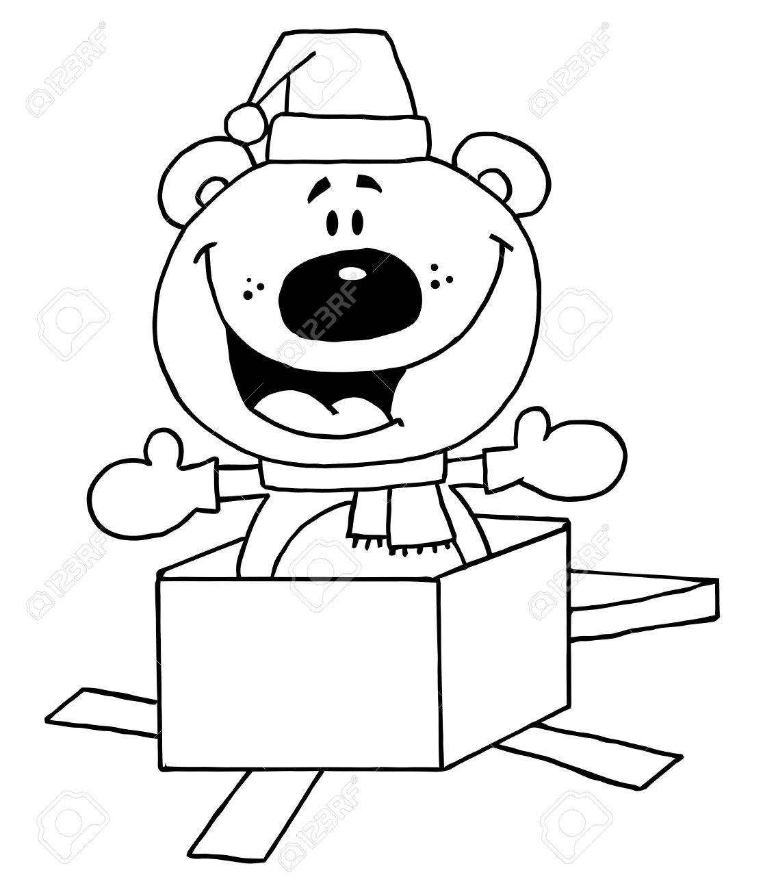 outline of a christmas polar bear popping out of a gift box