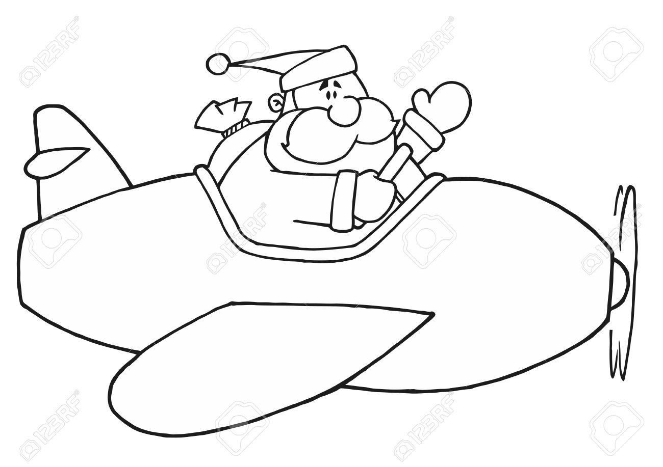 Esquema Página Para Colorear Blanco Y Negro De Santa Volar Un Avión ...