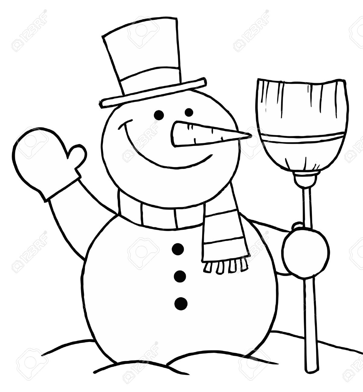 black and white coloring page outline of a snowman with a broom