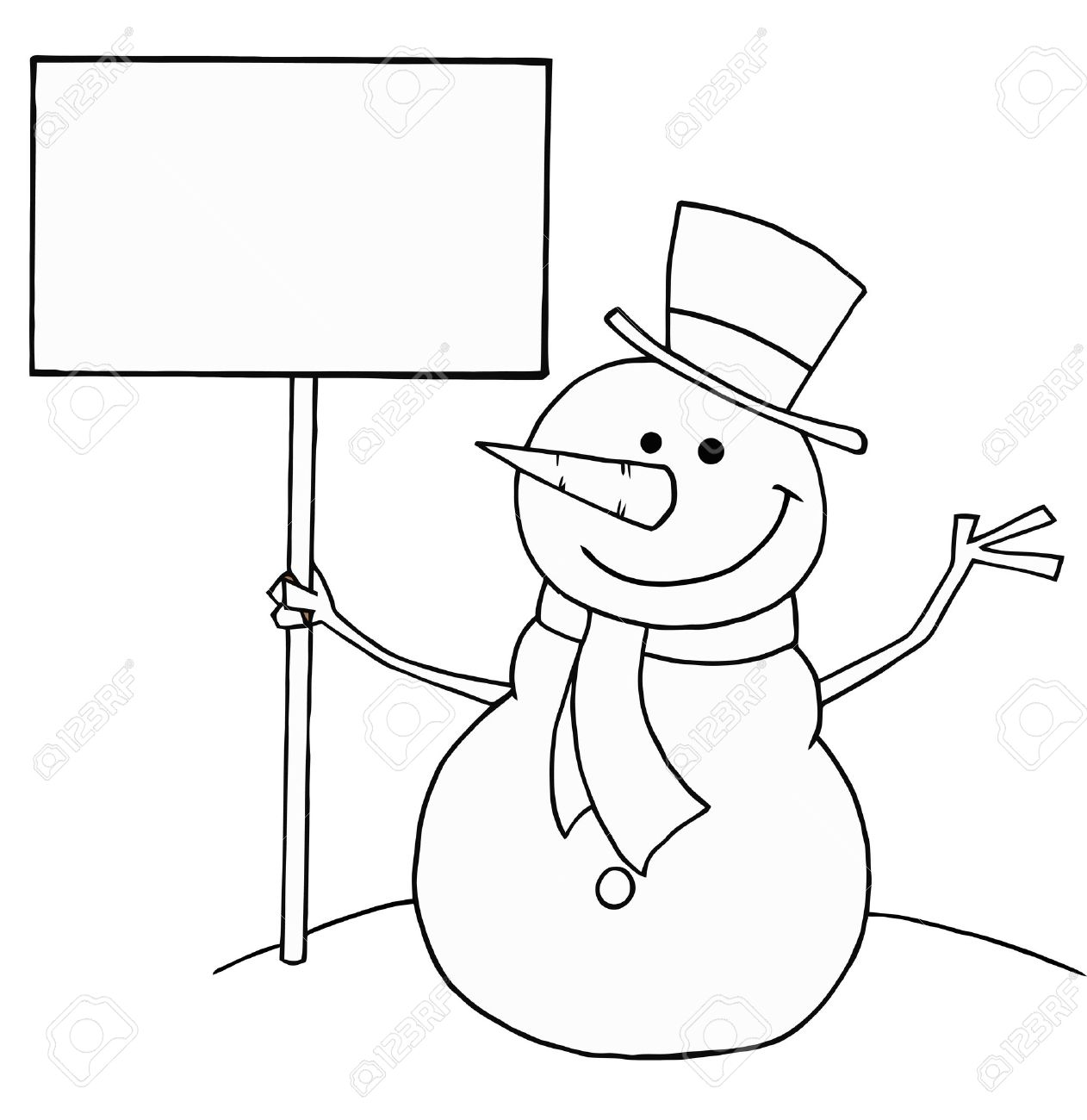 Black And White Coloring Page Outline Of A Snowman Holding A ...