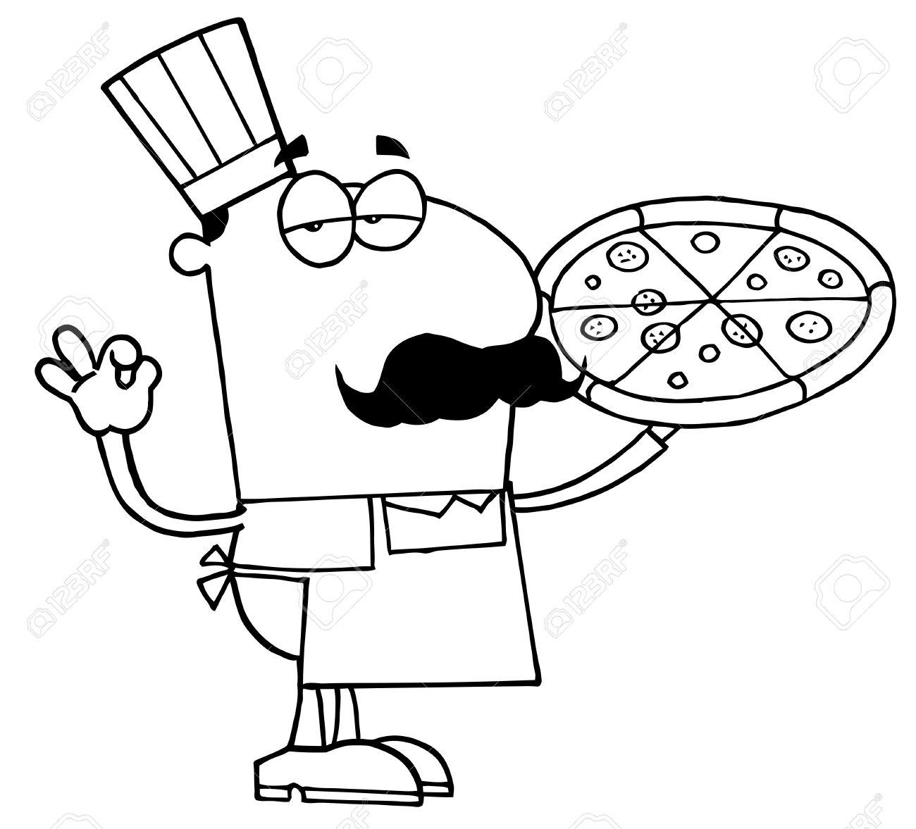 Illustration Clipart D'un Cuisinier Pizza Outlined Clip Art Libres ...