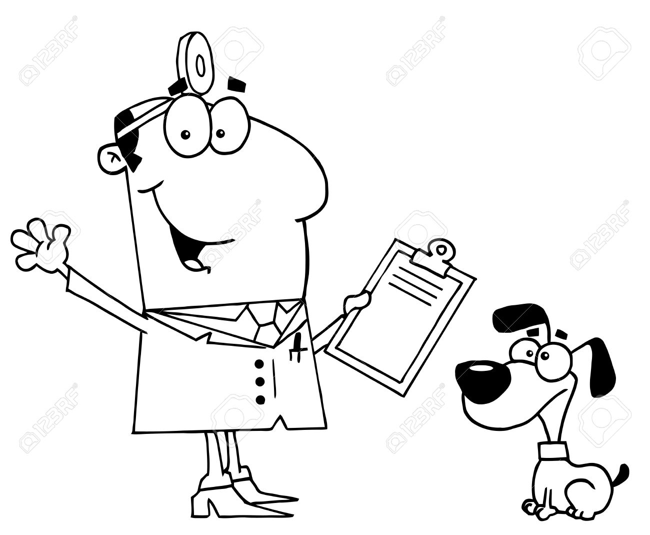 Clipart Illustration of an Outlined Vet and Dog Stock Vector - 16386786