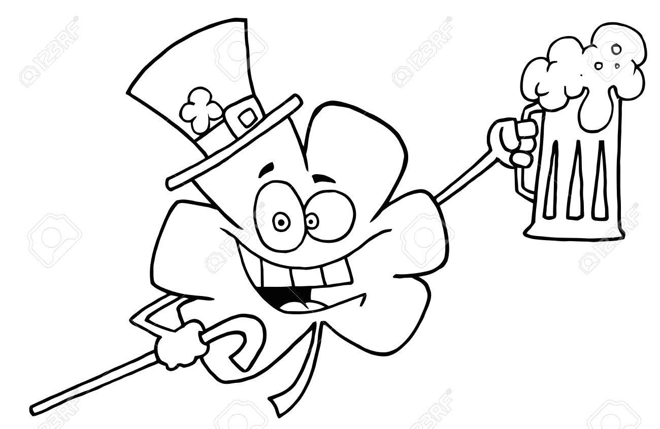outlined clover holding beer cartoon character royalty free