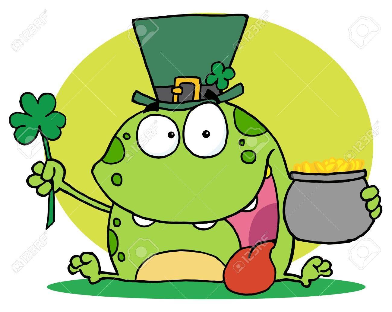 green st patricks day leprechaun frog wearing a hat holding