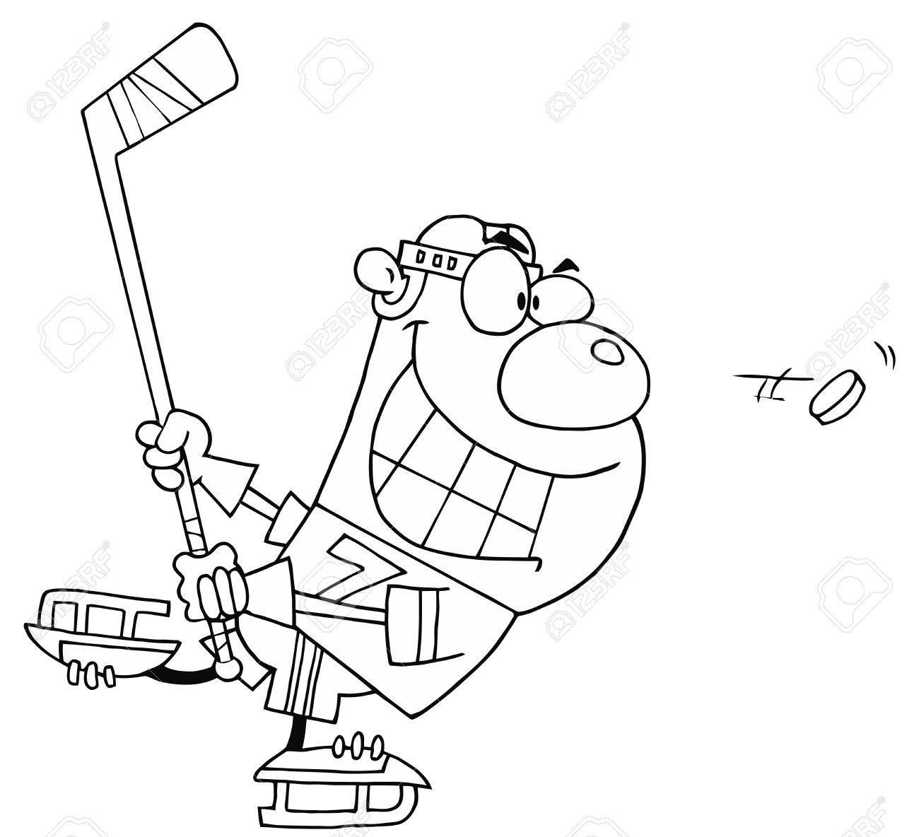 Outlined Hockey Bear Stock Vector - 16386836