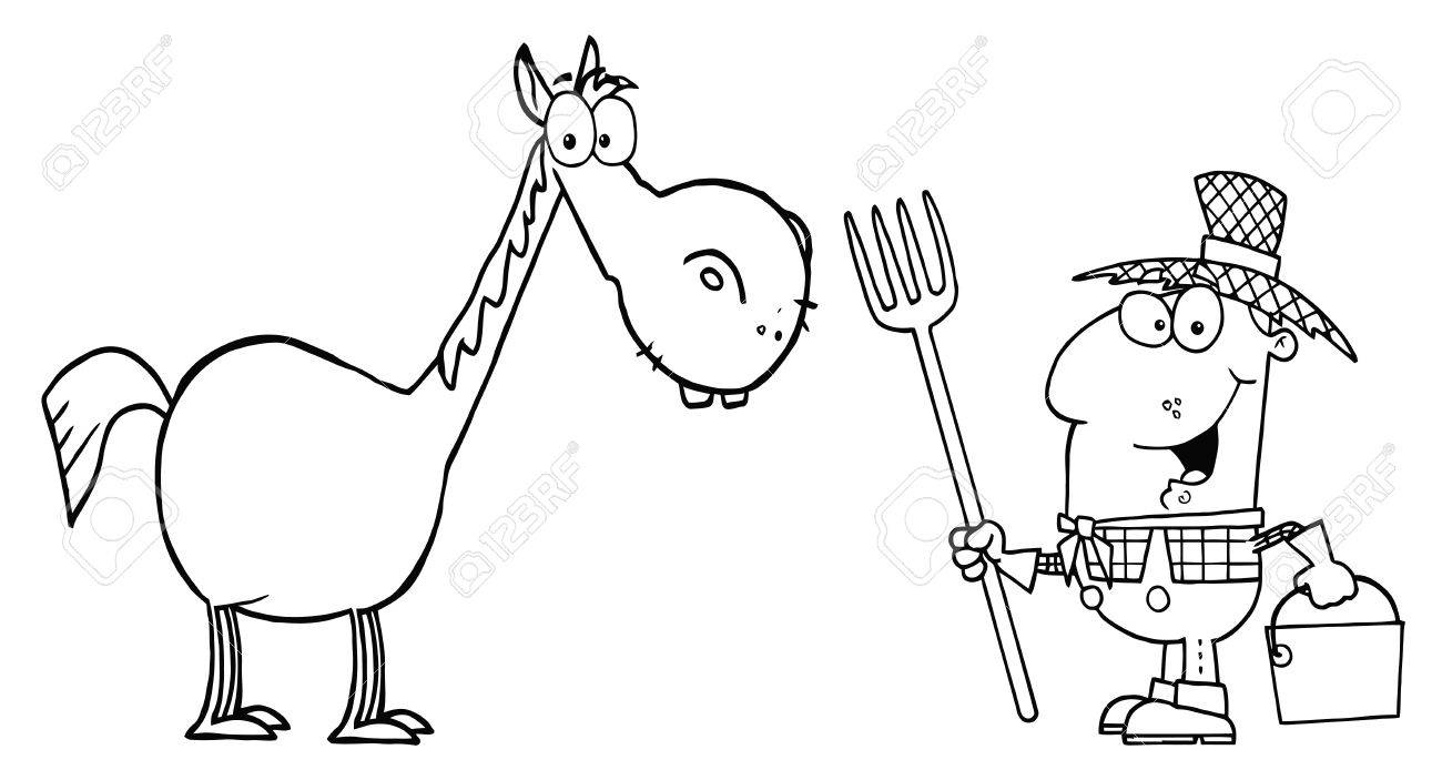 Outlined Male Farmer With Horse Stock Vector - 16387021