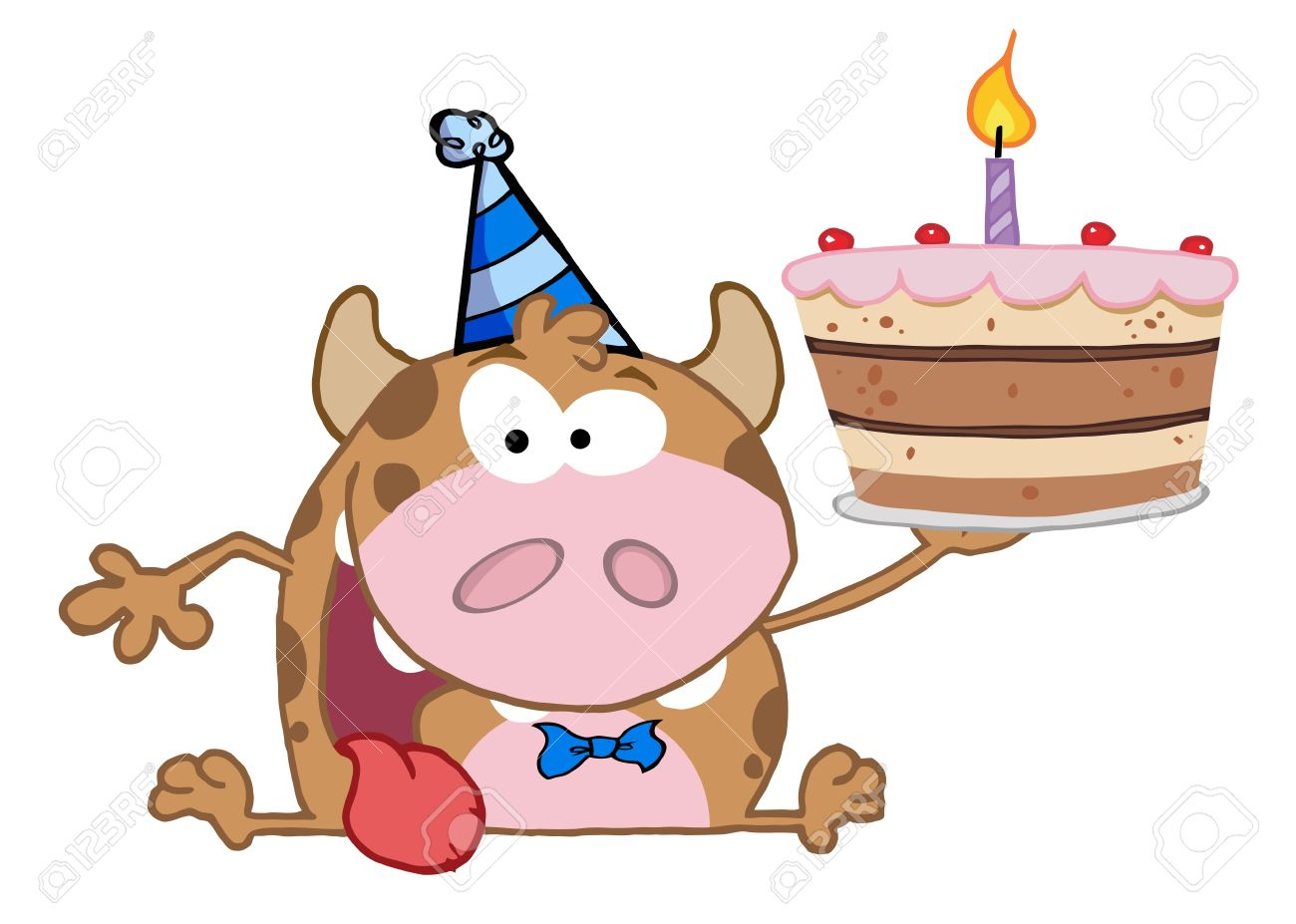 Gluckliche Calf Cartoon Character Halt Birthday Cake Standard Bild