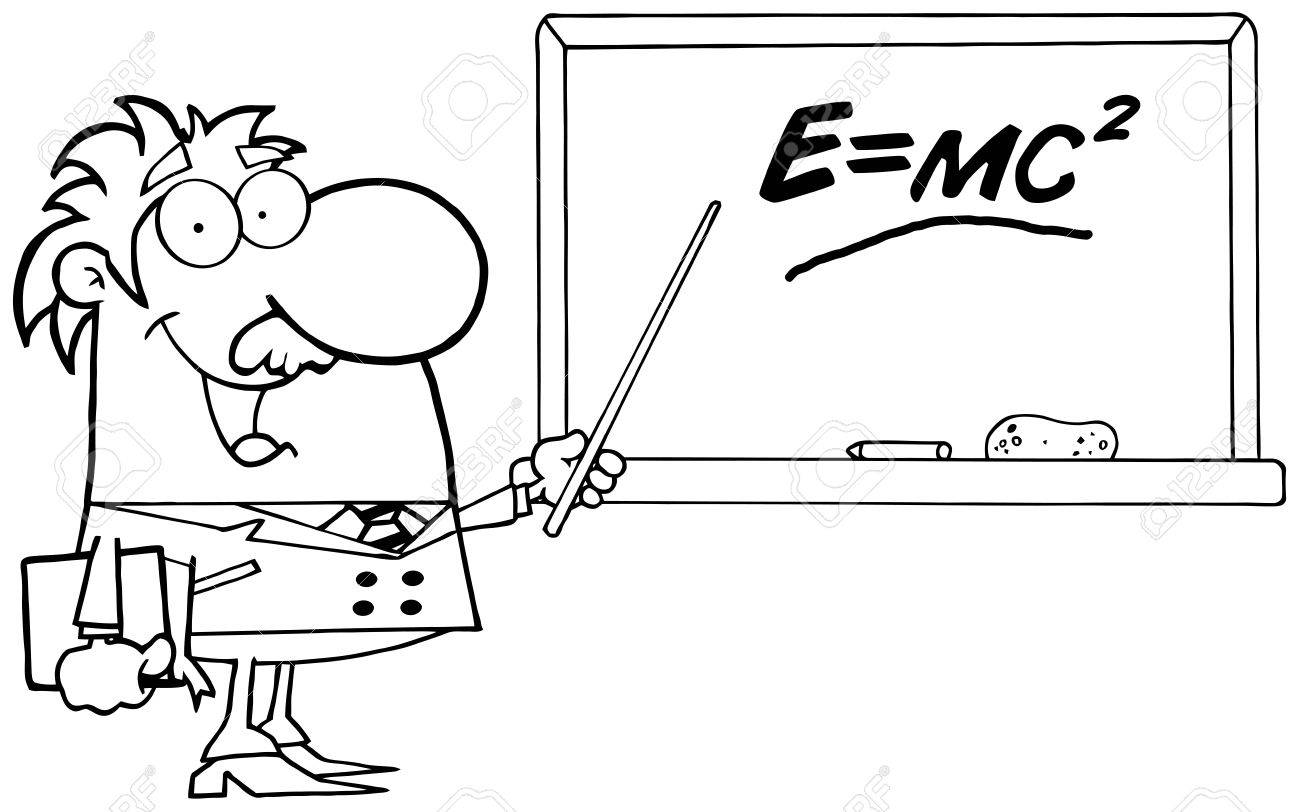 The coloring book of physics - Happy Black And White Science Professor Discussing Mass Energy Equivalence Physics Stock Vector 16386987