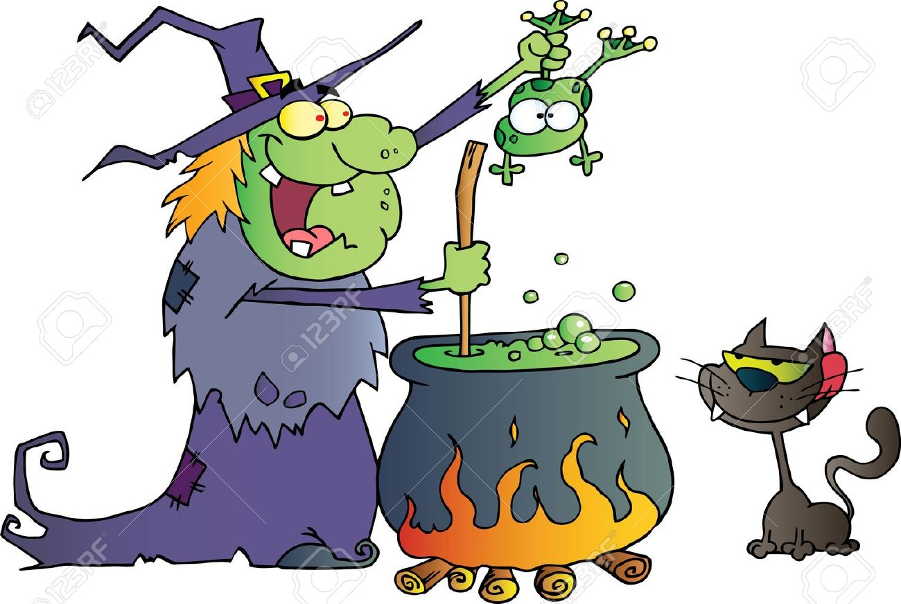 Crazy Witch With Black Cat Holding A Frog And Preparing A Potion - 16446285