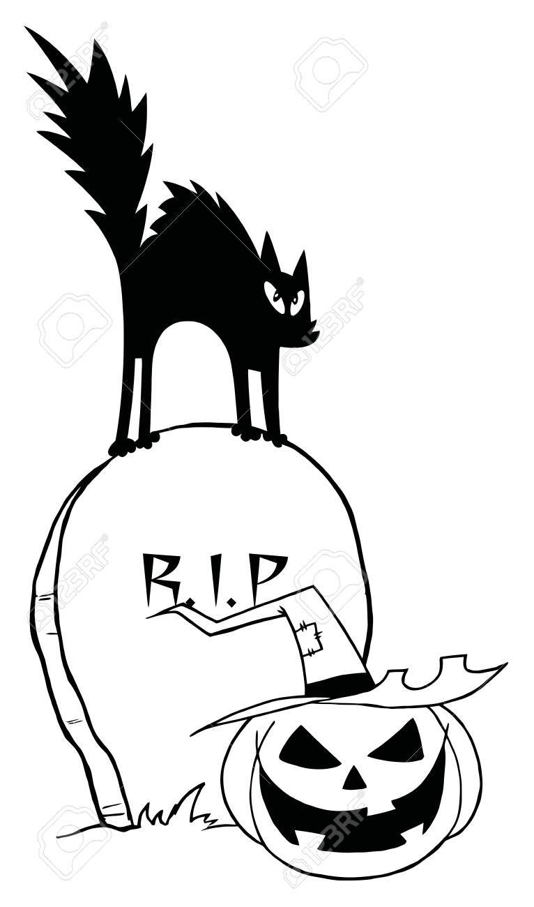 Outlined Black Cat And Jack O Lantern On A Tombstone Stock Vector - 16446240