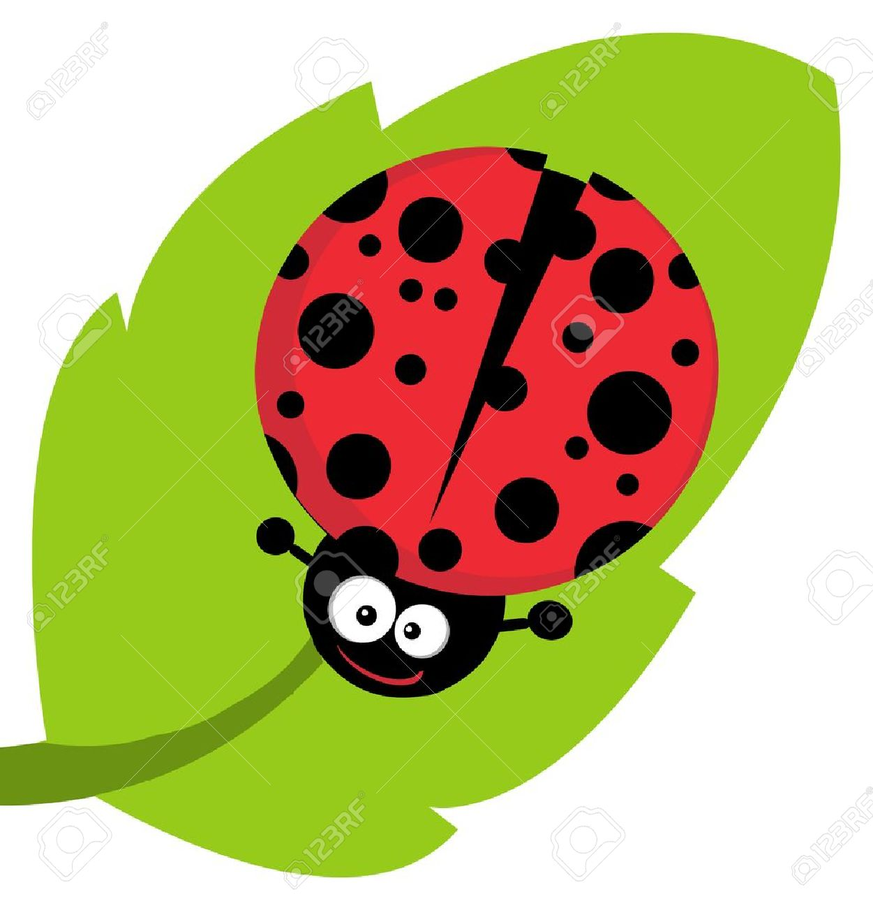 Cute Lady Bug On Leaf Royalty Free Cliparts, Vectors, And Stock ... for Clipart Ladybug On Leaf  570bof